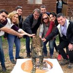 The leopards are brought to life by scanning the floor markings with a smartphone app