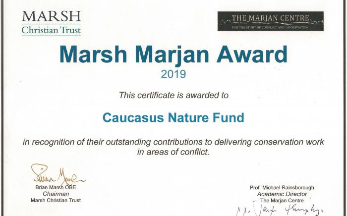 Marsh Marjan Award Certificate