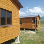 2 tourist cottages close to a birdwatcher's hide on Kartsakhi lake. Photo: Caucasus Nature Fund