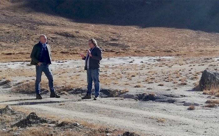 Tobias Muenchmeyer and Geof Giacomini at Truso Gorge, Kazbegi National Park