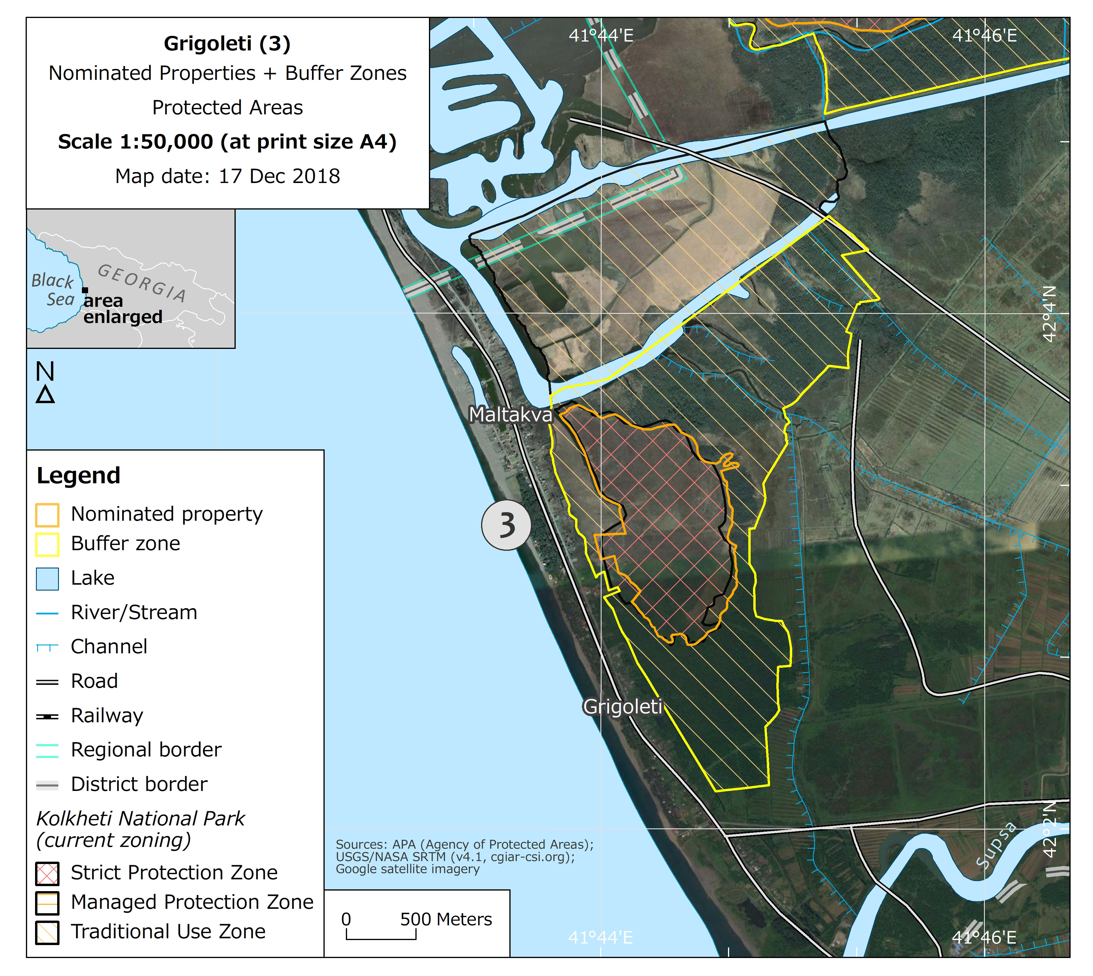 Map of the Grigoleti nominated component area and its buffer zone (No. 3) with boundaries and zoning of Kolkheti National Park